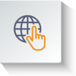 finger globe icon orange
