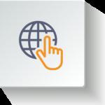finger globe icon orange